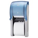 Dispenser din plastic pentru hartie igienica in rola Mini Jumbo, albastru/gri - Twin Midsize Coreles