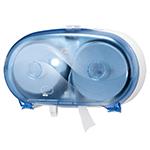 Dispenser din plastic pentru hartie igienica in rola Mini Jumbo, albastru/alb - Twin Midsize Coreles