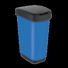 Cos gunoi mediu cu capac batant Twist Premium 25L, albastru