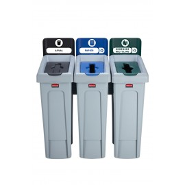 SJRS - Statie reciclare Slim Jim - 3 containere cu capace (negru/albastru/verde)