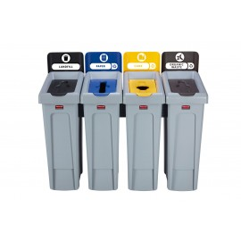 SJRS - Statie reciclare Slim Jim - 4 containere cu capace (negru/albastru/galben/maro)
