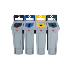 SJRS - Statie reciclare Slim Jim - 4 containere cu capace (negru/albastru/galben/verde)