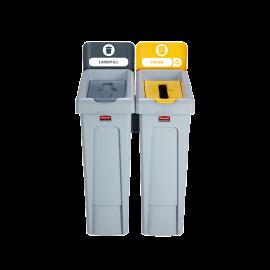 SJRS - Statie reciclare Slim Jim - 2 containere cu capace (gri/galben)