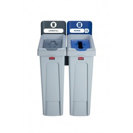SJRS - Statie reciclare Slim Jim - 2 containere cu capace (negru/albastru)