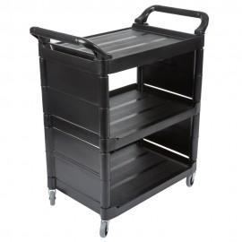 Carucior pentru servire Utility inchis pe 2 laterale 68 kg, negru