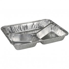 Caserola rectangulara din aluminiu, 3 compartimente, 22.7 x 17.8 x 3 cm, 385 ml - Abena