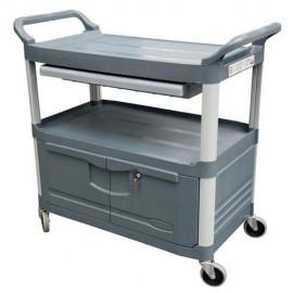 Carucior X-Tra pentru servire cu sertar si dulap 135 kg, gri - Rubbermaid