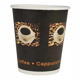 Pahare biodegradabile din carton pentru cafea Abena Gastro Coffee Beans 11cm, Ø9cm, 36 cl 12 Oz - Abena