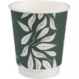Pahare biodegradabile din carton pentru cafea Abena Gastro Green Leaves 9.1cm, Ø8cm, 24 cl 8 Oz - Abena