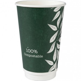 Pahare biodegradabile din carton pentru cafea Abena Gastro Green Leaves 13.5cm, Ø9cm, 50 cl 16 Oz - Abena