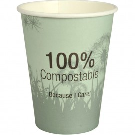 Pahare biodegradabile din carton pentru cafea Abena Gastro Dandelion 11.2cm, Ø9cm, 36 cl 12 Oz - Abena
