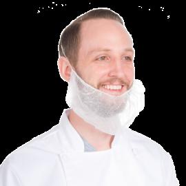 Protectie barba cu banda elastica, alba - Global Hygiene
