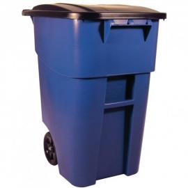 Pubela Brute mobila cu capac 189.3 L, albastra - Rubbermaid