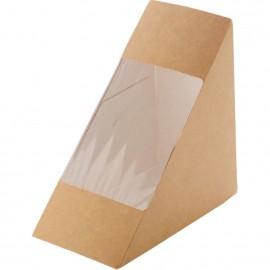 Triunghi de carton kraft cu fereastra pentru sandwich 17 x 12 cm - Abena